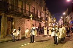 波尔图,葡萄牙-以纪念我们的法蒂玛的夫人的队伍 图库摄影