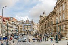 波尔图-葡萄牙的街道的教会圣徒安东尼 图库摄影
