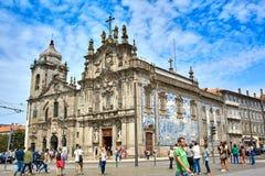 波尔图/葡萄牙- 08 10 2017年:Igreja全景在一个美好的夏日做卡尔穆,葡萄牙 免版税图库摄影