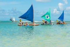 波尔图de Galinhas, Ipojuca, Pernambuco,巴西- 2018年1月:其中一个最美丽的海滩在世界上 库存图片