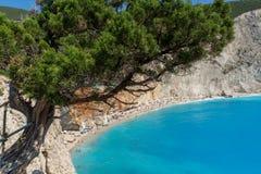 波尔图Katsiki海滩,莱夫卡斯州,爱奥尼亚人海岛,希腊大海海景  免版税图库摄影