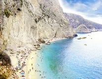 波尔图Katsiki海滩在莱夫卡斯州海岛,希腊 免版税图库摄影