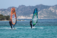 波尔图POLLO, SARDINIA/ITALY - 5月21日:风帆冲浪在波尔图民意测验 免版税库存照片