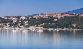 波尔图Vecchio镇,沿海都市风景 免版税库存照片