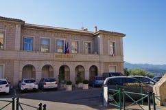 波尔图Vecchio,可西嘉岛市政厅的看法  库存照片