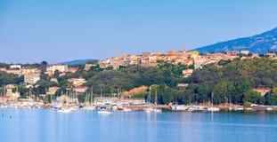 波尔图Vecchio,沿海都市风景,可西嘉岛海岛 库存图片