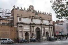 波尔塔del Popolo,罗马,意大利 免版税图库摄影