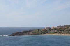 波尔托斯库索,撒丁岛看法  库存照片