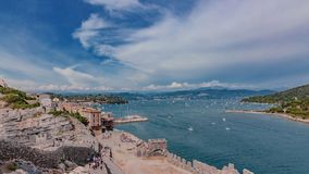 波尔托韦内雷和风景看法,在五乡地附近,意大利 图库摄影