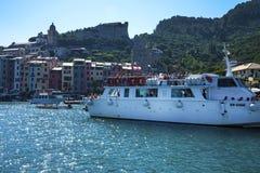 波尔托韦内雷在利古里亚的Cinqueterra海岸线在北意大利 免版税库存照片