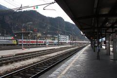 波尔查诺Bozen火车站,意大利 启运lviv岗位培训乌克兰 免版税库存照片