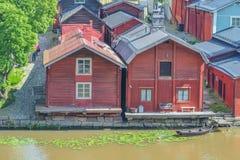 波尔沃,芬兰,停泊处在老镇 库存图片