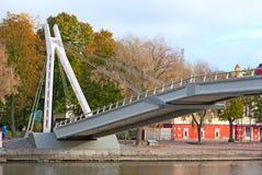 波尔沃 芬兰 在河Porvoonjokl的桥梁 免版税库存照片
