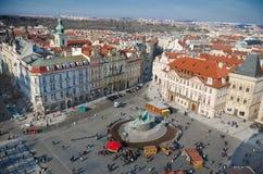 波希米亚老布拉格方形城镇 免版税库存图片