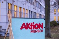 波恩,北莱茵-威斯特法伦/德国- 28 10 18:aktion mensch大厦在波恩德国 免版税库存照片
