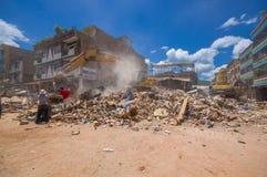 波托维耶霍,厄瓜多尔- 2016年4月, 18日:修造显示后果7 8毁坏市中心的地震 免版税库存照片