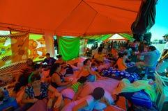 波托维耶霍,厄瓜多尔- 2016年4月, 18日:难民的帐篷在7以后 8地震 免版税库存图片