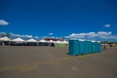 波托维耶霍,厄瓜多尔- 2016年4月, 18日:难民的帐篷在7以后 8地震 库存图片