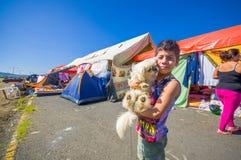 波托维耶霍,厄瓜多尔- 2016年4月, 18日:难民的帐篷在7以后 8地震 库存照片