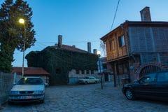波摩莱的历史部分的保加利亚建筑学 库存照片