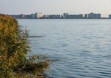 波摩莱-盐湖,保加利亚的岸的一个城市 免版税图库摄影