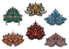 波斯五颜六色的开花的佩兹利花 图库摄影