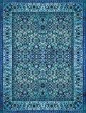 波斯地毯纹理,抽象装饰品 圆的坛场样式,中东传统地毯织品纹理 绿松石牛奶 库存照片