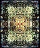 波斯地毯纹理,抽象装饰品 圆的坛场样式,中东传统地毯织品纹理 绿松石牛奶 免版税图库摄影