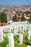 波斯尼亚墓地穆斯林萨拉热窝 库存图片