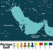波斯湾地图  免版税库存图片