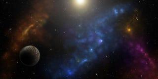 波斯菊、星、星云和行星 科学幻想小说背景 免版税库存照片