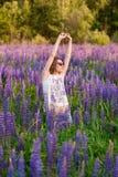 波斯菊花田的美丽的女孩在日落 在生动之下的去蓝色蝴蝶概念花飞行自由天空swallowtail 葡萄酒颜色 免版税库存图片