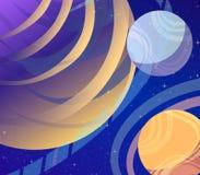 波斯菊,未来的幻想未来派传染媒介艺术  空间,星,克服空间,行星际飞行的行星 免版税库存照片