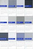 波斯蓝色和赛跑的绿色上色了几何样式日历2016年 库存图片