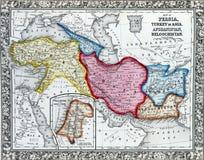 波斯,土耳其古色古香的地图在亚洲。 库存图片