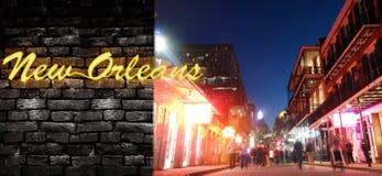 波旁街和新奥尔良氖 库存照片