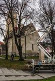 波普拉德镇为圣诞节做准备 免版税库存照片