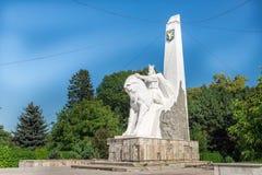 波格丹骑马雕象我在Radauti镇,罗马尼亚 库存图片