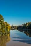 波河在秋天,都灵 免版税库存照片