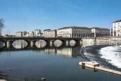 波河在都灵,意大利 图库摄影