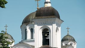 波洛茨克,白俄罗斯 波洛茨克的圣徒Euphrosyne修道院复合体有圣洁十字架的兴奋东正教的  股票视频