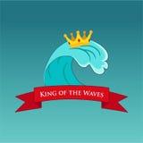 波浪冲浪的例证或象征的国王 库存图片