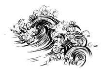 波浪刷子墨水剪影手拉的serigraphy印刷品 库存照片