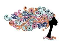 波浪发型,您的设计的女性头 向量例证