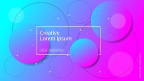 波浪和几何颜色背景设计 与梯度颜色的动态形状构成 盖子的现代和未来派设计 免版税库存照片