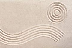 波浪和圈子在日本禅宗从事园艺 免版税图库摄影