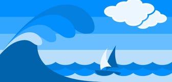 波浪和小船 免版税图库摄影