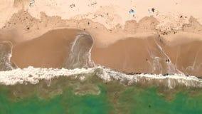 波浪和海滩鸟瞰图  股票录像