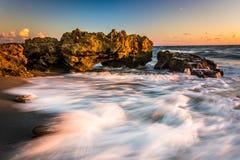 波浪和珊瑚在日出在大西洋珊瑚小海湾的P 图库摄影