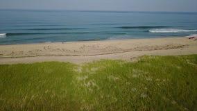 波浪和美丽的鳕鱼角海滩天线  股票录像